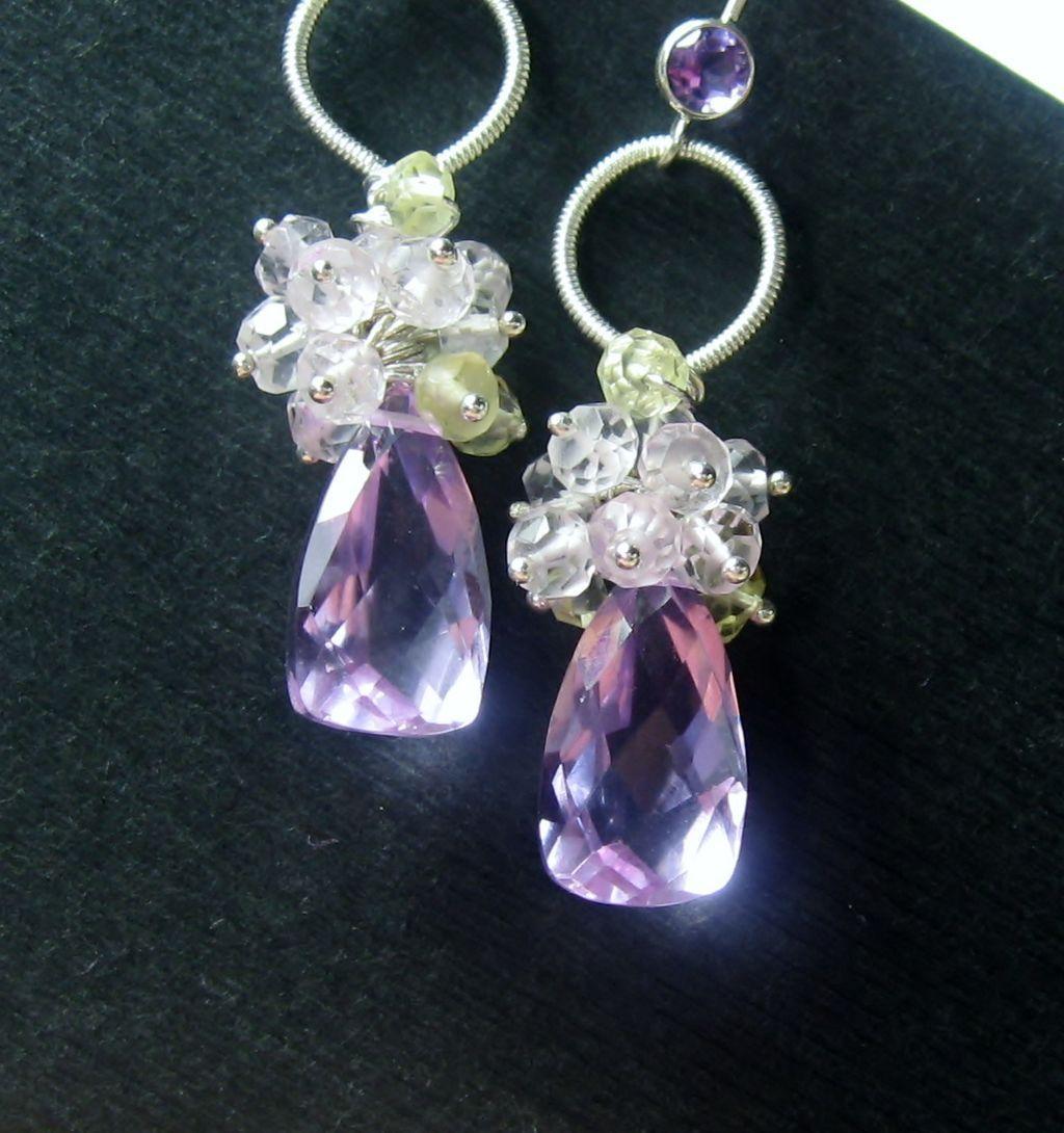 Lavender and Rose Quartz Prehnite Citrine Cluster Sterling Earrings