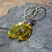 Yellow Quartz Tanzanite Gold Filled Drop Earrings