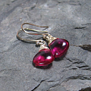 SALE Berry Quartz Sterling Silver Drop Gemstone Earrings