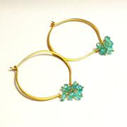Apatite Gemstone Lotus Loop Gold Vermeil Hoop Earrings