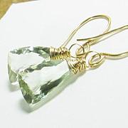 Green Quartz Gemstone Gold Filled Drop Earrings