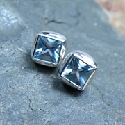 Aquamarine Post Earrings March Birthstone