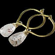 Lepidocrosite Gemstone Hoops - Vermeil
