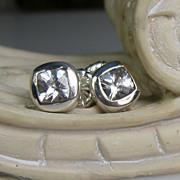 SALE White Topaz Sterling 10K Gold Post Earrings