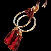 SALE 25% OFF Holiday Sale- Garnet Quartz Gold Filled Hoop Earrings