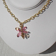 Pink and Champagne Topaz Gold Filled Vermeil Necklace