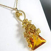 SALE Madeira Quartz Citrine Tendrils Cluster Gold Necklace