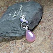 Lavender Chalcedony Jade Feldspar Coiled Sterling Pendant