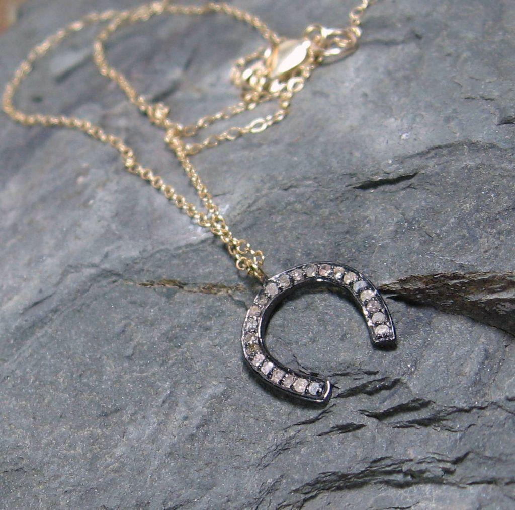 Pave Diamond Horseshoe Sterling Pendant Necklace