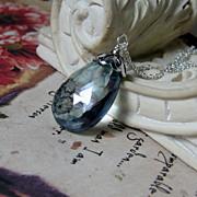 SALE 20% OFF Holiday Sale 33Ctw Slate Blue Quartz Sterling Pendant Necklace