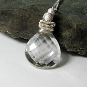 SALE Quartz Crystal Gemstone Pendant