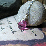 SALE Pink Quartz Gemstone Sterling Pendant