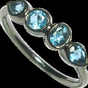 SALE 25% OFF Holiday Sale Aquamarine Gemstone Ring, Oxidized Sterling Silver, Size 6