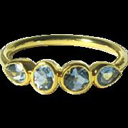 SALE 25% OFF Sale Aquamarine 14K Gold Birthstone Band, Ready to Ship, Size 6.25