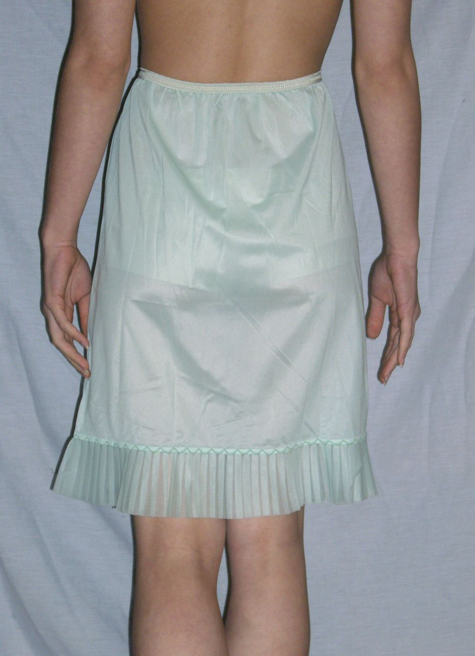 Vintage 1950 Sea Foam Green Pleated Half Slip New Nwt