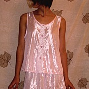 Vintage Petra NOS NEW Fashions Shiny Pink Baby Doll Nighty  Size Large