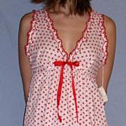 Vintage 1960 Barbizon Seraphim Batiste Red & white Baby Doll Nighty set NEW NWT NOS Size Small