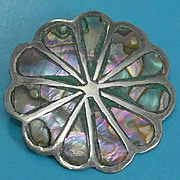 Vintage Mexico Sterling Silver with Inlaid Abalone Brooch Pin Pendant