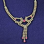 Vintage Pink and AB Rhinestone Necklace ~Aurora Borealis