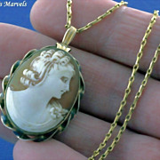 Vintage 12 Kt Gold Filled Hand Carved Shell Cameo Locket Pendant and 14Kt Gold Filled Chain Necklace