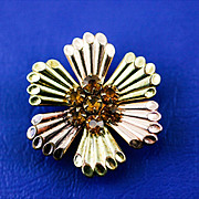 Early Harry Iskin Floral Two Toned Gold Filled Topaz Rhinestone Watch Pin Brooch