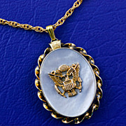 1940's WW2 Era US Army Eagle Military Sweetheart Gold Filled Mother of Pearl Locket Pendant