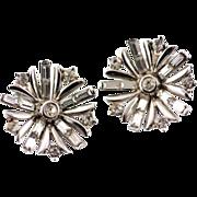 Rare Silver Tone1949 Alfred Phillipe Trifari Rhinestone Snowflake Earrings