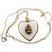 SOLD Vintage WW2 Era USN US Navy Mother of Pearl and Gold Filled Pendant and Chain Necklace
