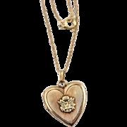 Vintage WW2 Era US Army Insignia Heart Locket Necklace