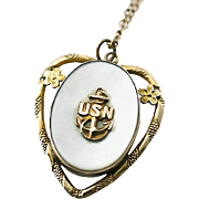 SALE PENDING WW 2 USN US Navy Anchor Insignia Sweetheart Mother of Pearl Hidden Locket Heart S