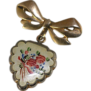 Vintage LaMode Guilloche Enamel Flowers Scalloped Edge Gold Filled Heart Shaped Locket Pendant