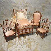 Miniature Pine Twig Chambre de Nuit Furniture Set for Doll Display