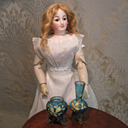 Pair of Art Glass Vases - Antique Miniature - for Doll Display