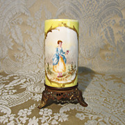Miniature Vase - Handpainted French With a Cast Bronze Base