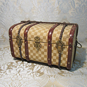 SOLD Doll Trunk - Antique, Small and Delightfully  Fancy