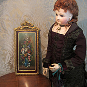 Miniature Floral Painting in Gilt Frame for Doll Display