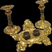 Ormolu Inkstand and Candlesticks - Set of Three Items