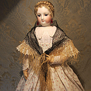 Huret Quality Hand Knotted Antique Shawl for French Fashion Doll