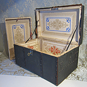 Large Doll Trunk With Tray - Monogrammed - Painted Canvas Covering