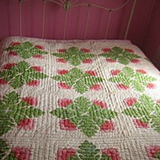 Antique Quilt C 1870 Cockscomb red green applique