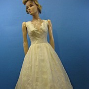 B2617 Vintage Bridal gown dress 1960s SILK eyelet