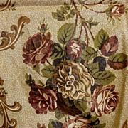 Antique fabric early 19C chintz yardage rose motif