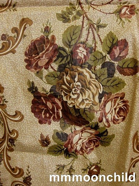 Antique fabric early 19C chintz yardage rose motif