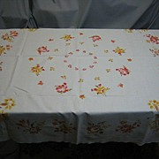 SOLD C1 Vintage 50's Tablecloth fall floral pattern