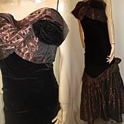 Vintage gown 1980s velvet w taffeta chic