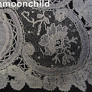 Antique lace wedding bridal hankie handkerchief Point de Gaze