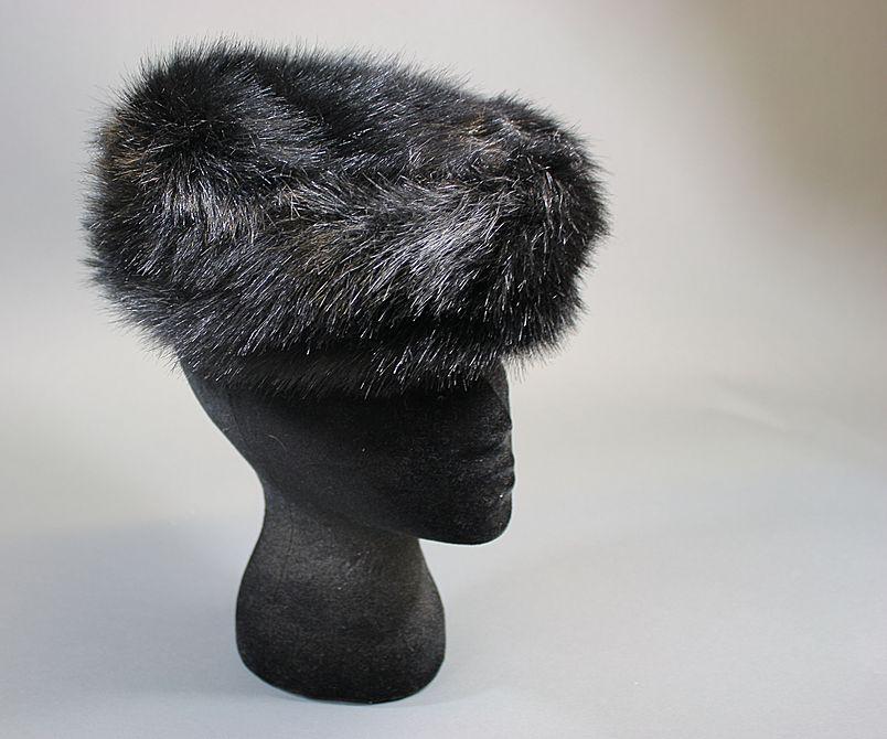 Vintage hat 1960s faux fur black