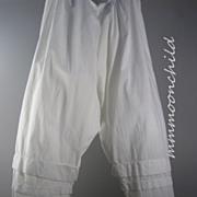 Antique Victorian Pantaloons White Cotton HM12
