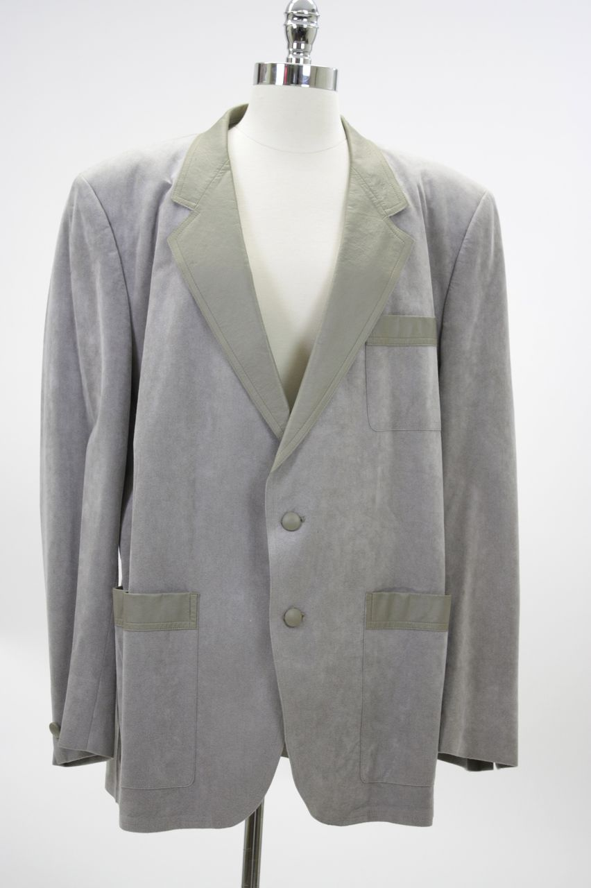 Vintage 70s Suede leather men's suit jacket gray suede