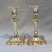 A Pair of Victorian 'Sheffield Plate' Candle Sticks -Circa 1860
